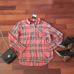 Topshop plaid top new with tags sz 4